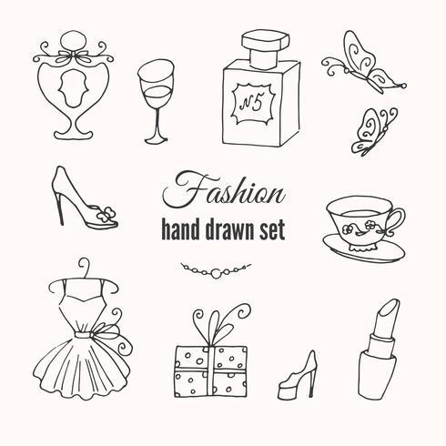 Hand skizzierte Sammlung französischer Modeelemente