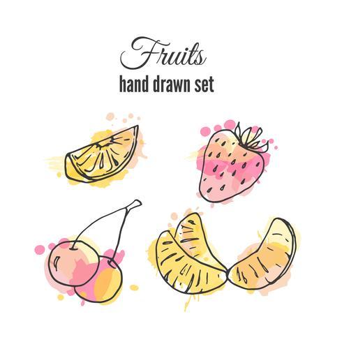 Sats av handdragen färsk frukt med färgglada vattenfärgstänk