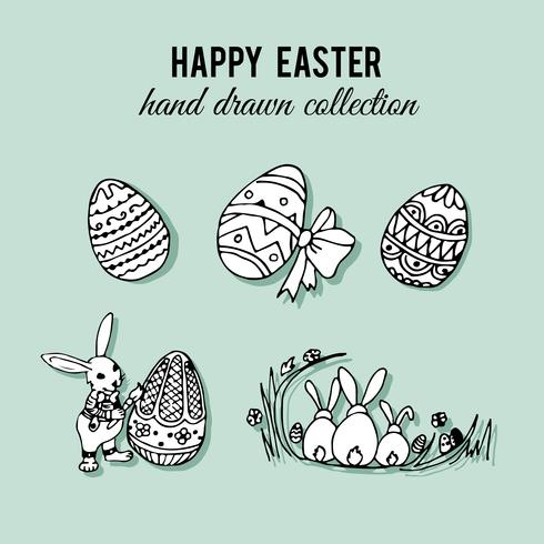 Hand drawn easter elements set vector