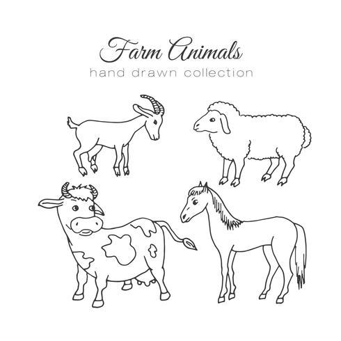 Animales de granja dibujados a mano vector