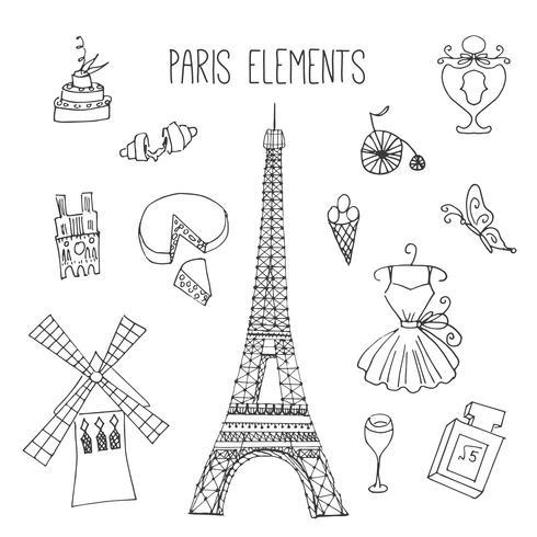 Elementos de Doodle com tema de Paris