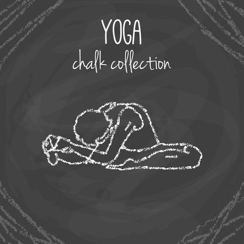 Chalk yoga pose illustrations on blackboard vector