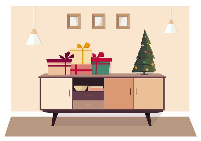 Vektor-Feiertags-Wohnzimmer-Illustration