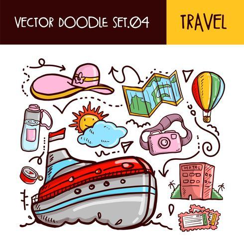 Reis Doodles pictogram. Vector illustratie Set