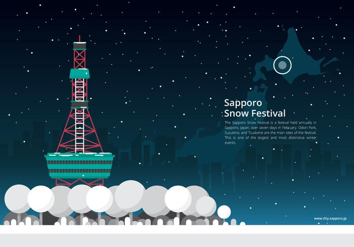 Sapporo Snow Festival with Sapporo Location - Download Free Vector Art, Stock Graphics & Images