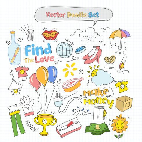 Vector colorido conjunto de Doodle