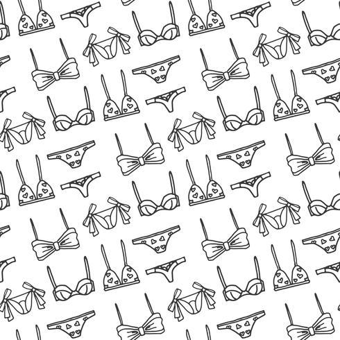Dibujado a mano conjunto de lencería