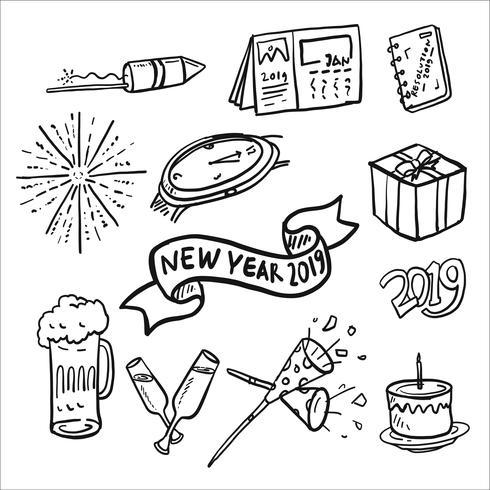 Nuovo anno 2019 Doodle Icon Set