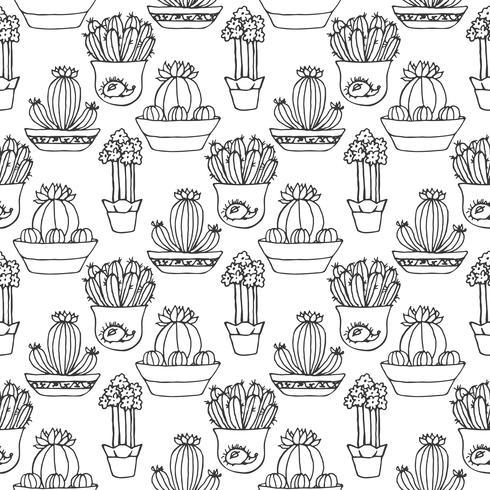 Cactus seamless pattern illustration