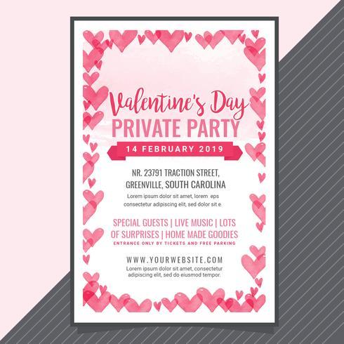Manifesto del partito di San Valentino di vettore
