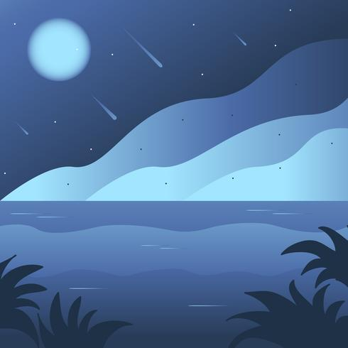 Night time Ocean Background scene - Download Free Vector Art, Stock Graphics & Images