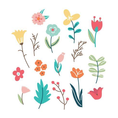 Flores rabiscadas coloridas