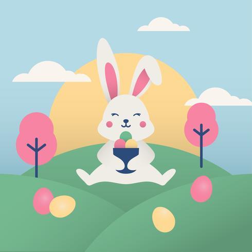 Carta da parati di Pasqua con coniglio carino vettore