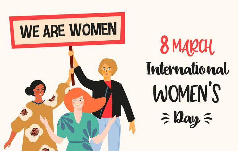 Día Internacional de la Mujer. Ilustración vectorial con mujeres de diferentes nacionalidades y culturas.