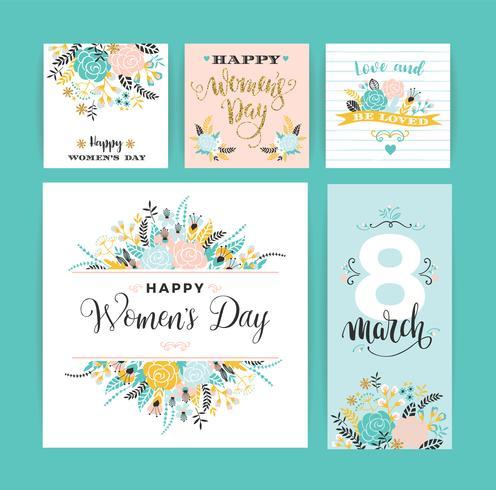Internationella kvinnodagen. Vektor mallar med blommor och bokstäver.