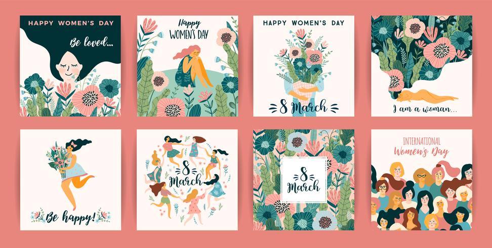 International Women s Day. Vector templates with cute women.