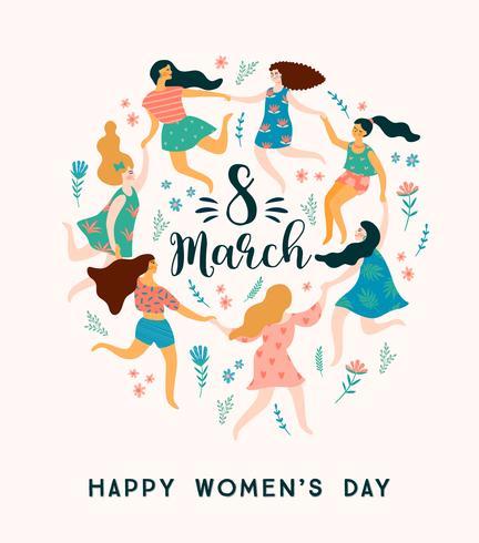 Día Internacional de la Mujer. Plantilla de vector con mujeres lindas.