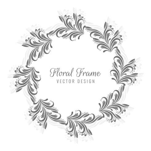 Decorative circular floral frame design