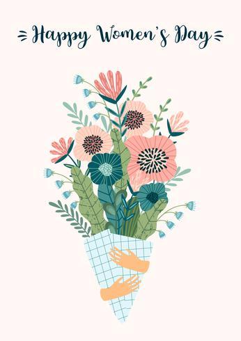 Internationella kvinnodagen. Vektor mall med bukett blommor.