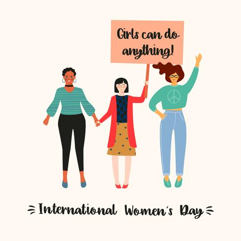 Día Internacional de la Mujer. Ilustración vectorial con mujeres de diferentes nacionalidades y culturas. vector