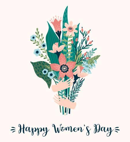 Día Internacional de la Mujer. Plantilla del vector con el ramo de flores.