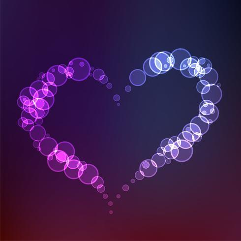 coeur créatif fait avec des cercles en arrière-plan de style néon