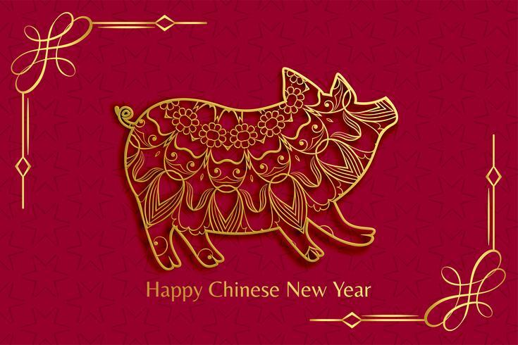 cochon d'ornement pour le nouvel an chinois