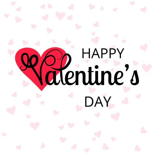 Tarjeta de San Valentín con fondo de corazones vector