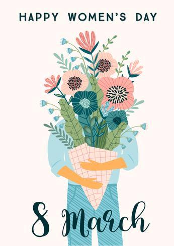 Journée internationale de la femme. Modèle vectoriel avec bouquet de fleurs.