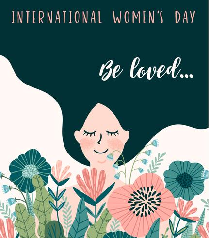 International Women s Day. Vector template with cute woman.