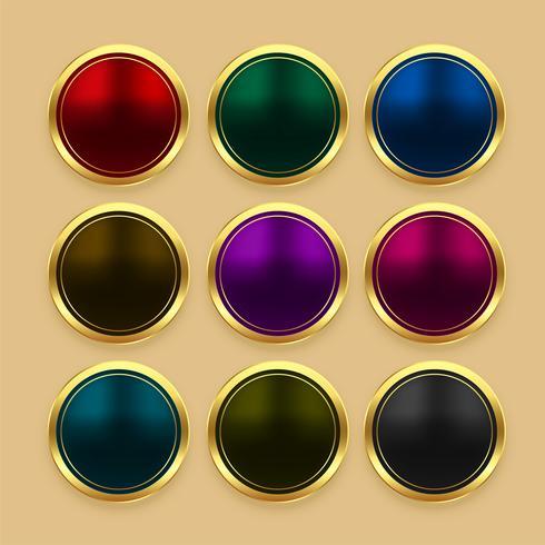 Set farbige metallische goldene Knöpfe
