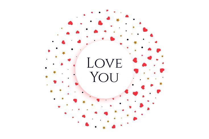 elegante Herzen in Kreisform mit Botschaft lieben dich