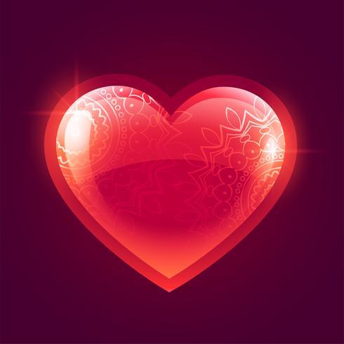 vacker glänsande röd glödande hjärta bakgrund