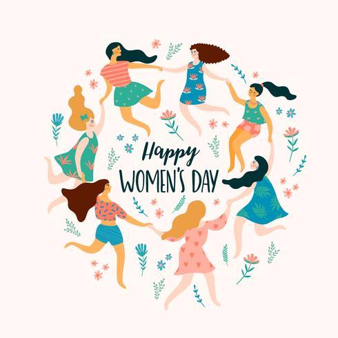 International Women s Day. Vector template with cute women.