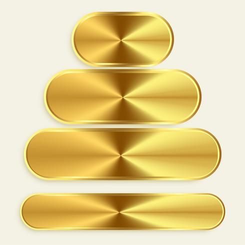 boutons métalliques dorés de différentes tailles