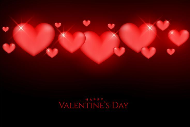 schöne Valentinstag glühende rote Herzen auf schwarzem Hintergrund