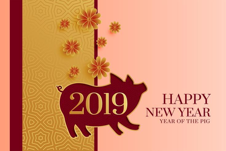 Frohes neues Jahr 2019 Hintergrund mit Schwein Silhouette