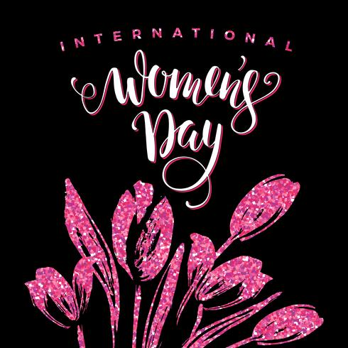 Día Internacional de la Mujer. Diseño de letras con flores. vector
