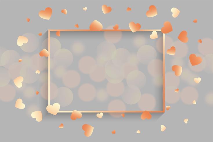 glänzende rosafarbene Herzen mit Textrahmen