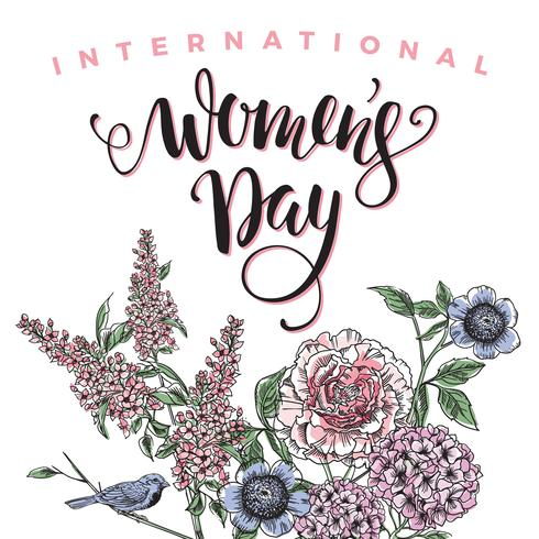 International Womens Day. Lettering design with flowers vector