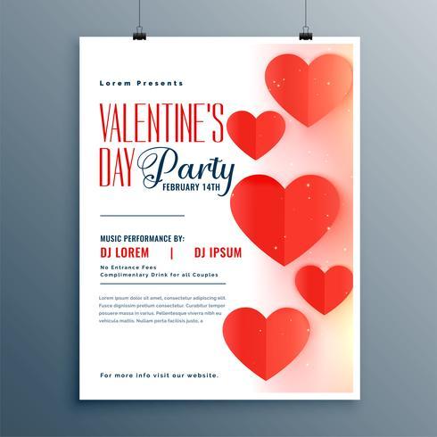 Elegant valentines day party flyer mall design