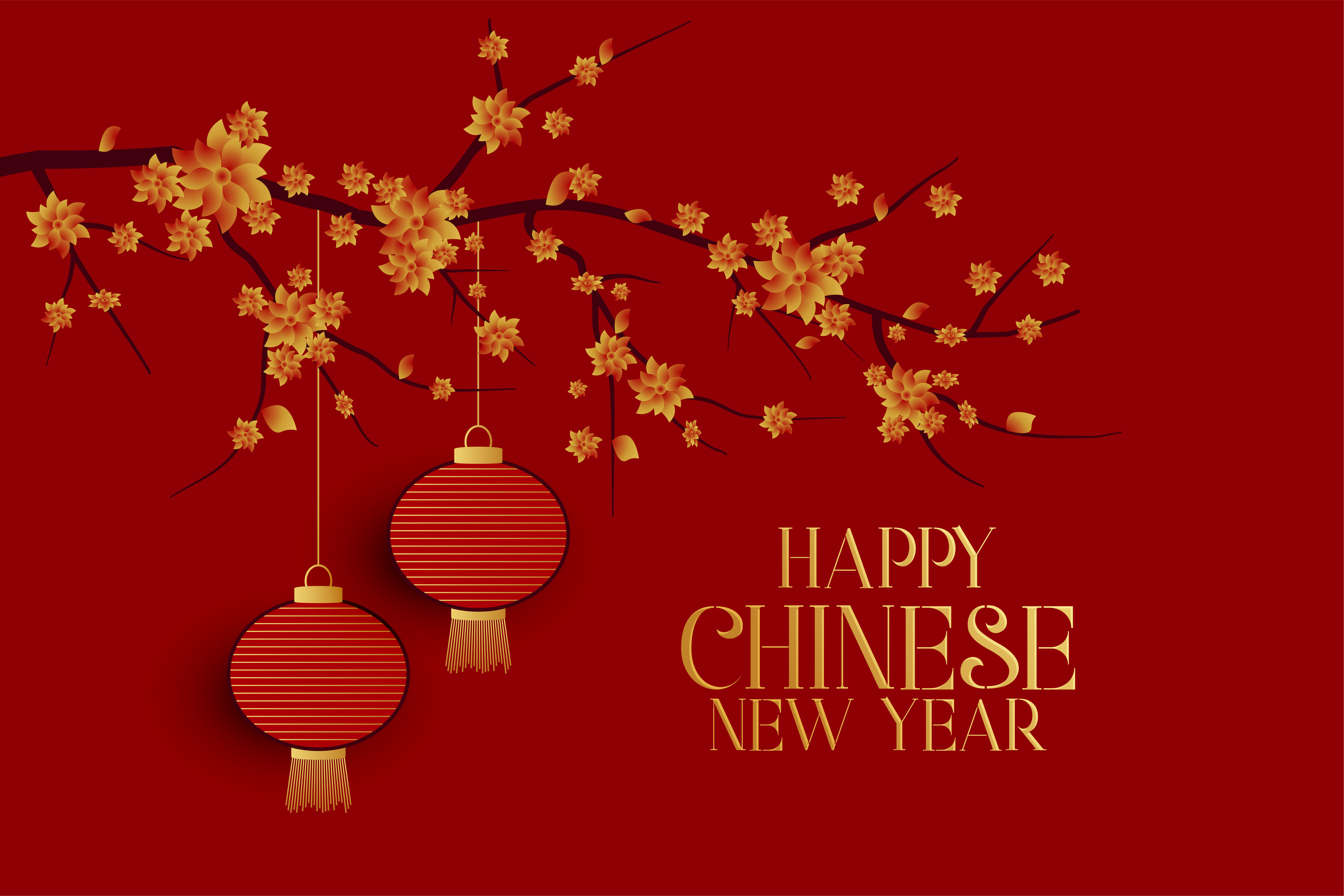 happy chinese new year red background with tree and ...