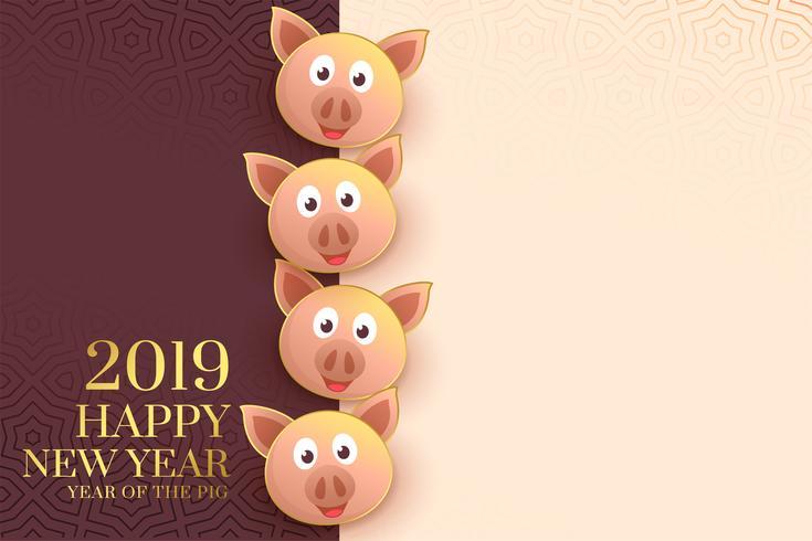 Modèle de joyeux nouvel an chinois 2019 avec des faces de cochon