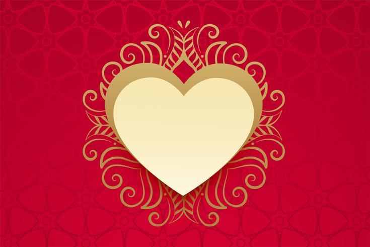 hjärta med guld blommig dekoration i vintage stil
