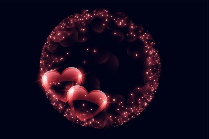 cuori di bolla lucido creativo con cornice scintilla