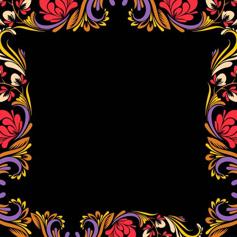 Abstract colorful decorative floral frame  background