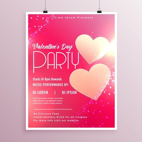 glänzende Valentinstag Flyer Designvorlage