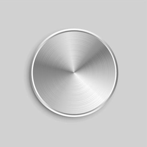 ronde realistische metalen knop met geborsteld stalen oppervlak