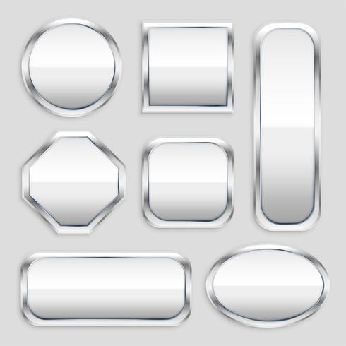 Set aus glänzendem Metallknopf in verschiedenen Formen