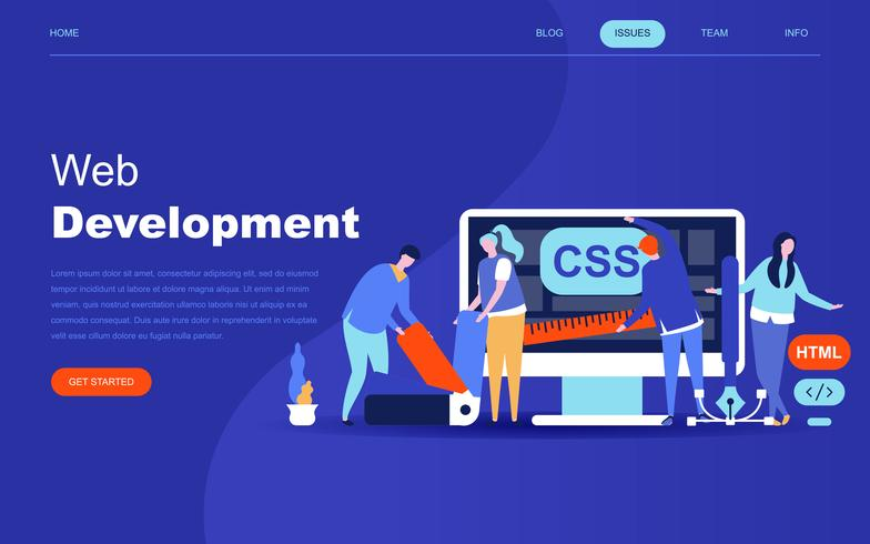 Conceito moderno design plano de desenvolvimento Web